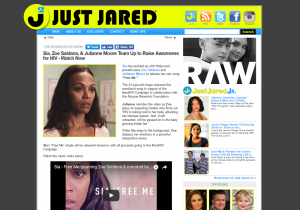 Just Jared Article: Sia, Zoe Saldana, & Julianne Moore Team Up to Raise Awareness for HIV - Watch Now