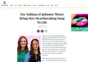Refinery29: Zoe Saldana & Julianne Moore Bring Sia's Heartbreaking Song To Life