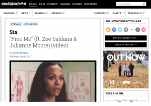 "Exclaim! :  ""Free Me"" (ft. Zoe Saldana & Julianne Moore)"