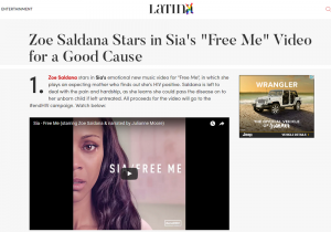 "Latina Article: Zoe Saldana Stars in Sia's ""Free Me"" Video for a Good Cause"