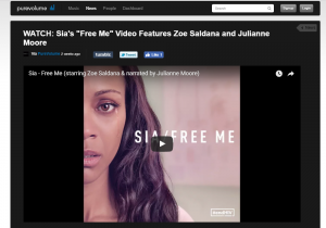 "PureVolume: Sia's ""Free Me"" Video Features Zoe Saldana and Julianne Moore"